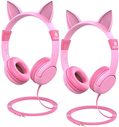 iClever HS01-2P Kids Headphones Girls for Toddler - Cat-Inspired On-Ear Headphones for Kids, 85dB Volume Limiting, Food Grade Silicone Tangle-Free Cord - Childrens Headphones, Pink - 2 Pack