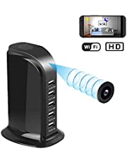 Spy Camera Wireless Hidden Camera 1080P HD WiFi USB Charger Camera 5 Port Plug, Security Camera Security Surveillance Camera Real-time monitoring recording Loop Recording Mobile Phone Charger tripod