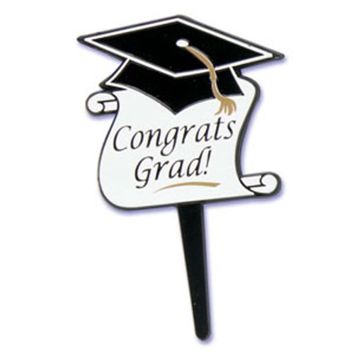 Dress My Cupcake DMC41G-34 12-Pack Congrats Grad Pick Decorative Cake Topper, Graduation, Black/White