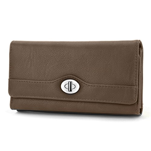 mundi-file-master-pebble-pattern-womens-wallet-clutch-organizer-with-zipper-pockets-brown