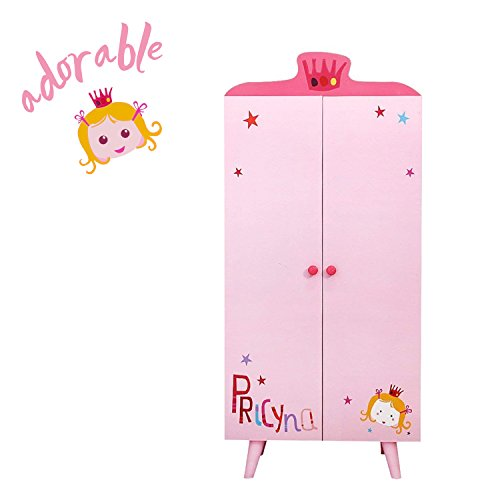 Girls Armoire - ❤❤❤【Girl】Labebe Wood Wardrobe Closet, Pink Wardrobe Closet Organizer with 5 Separated Shelves, Big Enough for Girl! Easy to Assemble Wood Wardrobe Storage, Baby Wardrobe Organizer/Closet Wardrobe Girl