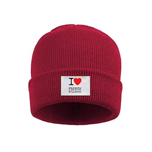 - Trum Namii Unisex Acrylic Knit Cap I Love Heart French Bulldogs Watch Cap Winter Beanie Hat