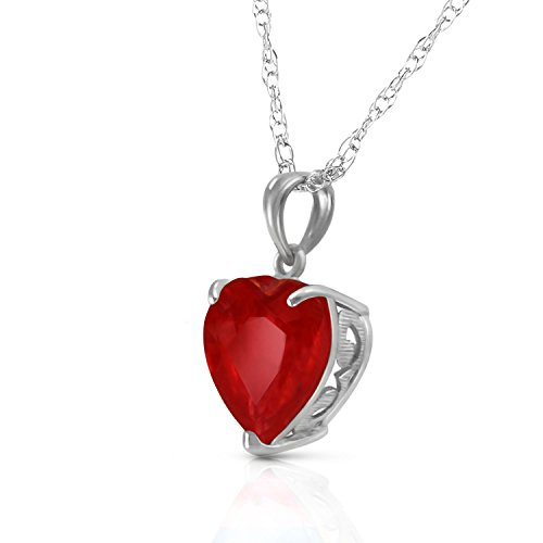 (14k Solid White, Yellow, Rose Gold Necklace with Heart Shaped 10 mm 4.3 Carat Natural Red Ruby 5662 (20.00,)
