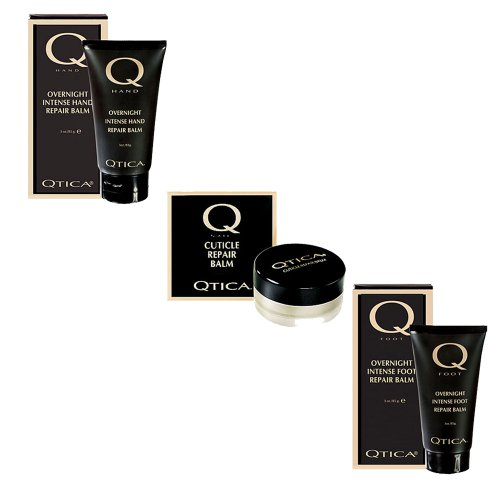 QTICA Intense Overnight Repair Balm (Hand & Foot 3oz each) & Cuticle Repair Balm (.5oz) Set