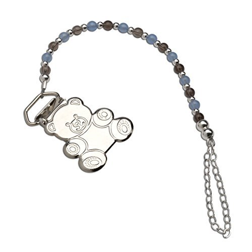 (Sterling Silver Teddy Bear Binky or Pacifier Clip in Blue and Chocolate Brown (Clip is base metal))