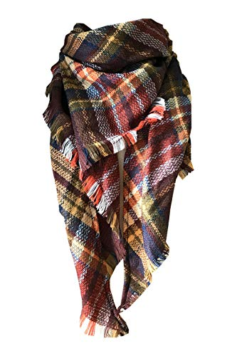 Wander Agio Womens Warm Scarf Triangle Shawls Large Scarves Stripe Plaid Fichu Brown 19