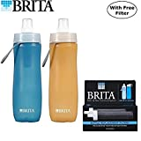 Brita 20 Ounce Sport Water Bottle with 2 Free Replaceable Filters - BPA Free - Twin Pack, Blue and Orange