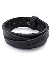TEMEGO Jewelry Mens Leather Rope Wide Bracelet, Punk Rock Wrap Bracelet,Black