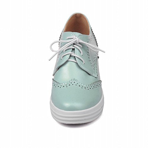 Latasa Dames Lace Up Oxford Sleehakken Schoenen Lichtblauw