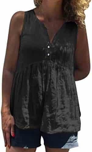 278d36c647cf55 Women's Cotton Linen Button V-Neck Vest Top Fashion Sleeveless Loose Soft Tank  Tops Summer