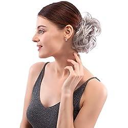 MERRYLIGHT Human Hair Bun Up Do Hair Piece Scrunchie Messy Bun Hair Pieces for Women (Dark Grey Mixed silver-M3/60)