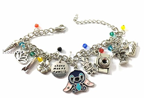 Lilo and Stitch Theme Charm Bracelet Wristlet Anklet Jewelry -