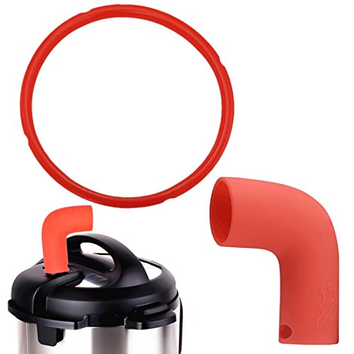 Pressure Cooker Steam Pipe Valve Release Accessory with Silicone Sealing Ring 8 Quart for Instant DUO80 and Smart Model Seal Insta Pot Accessories Set - Red