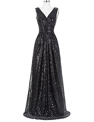 Kate Kasin Women Sequined Bridesmaid Dress Sleeveless Prom Banquet Evening Dresses