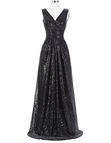 Black Sexy V-Neck Sequins Evening Dress Long Prom Bridesmaid Dress Size US6 KK199-4
