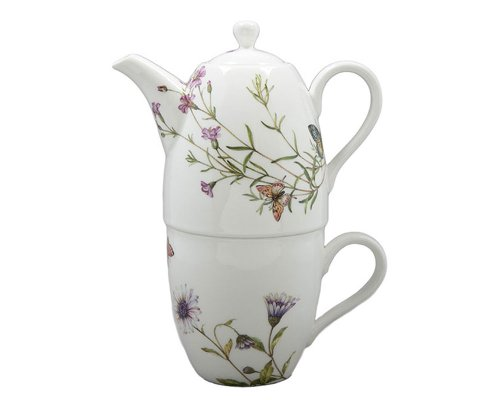 Gracie China Butterfly 3-Piece Porcelain Tea For One Set, 9-Ounce Teapot Stacked