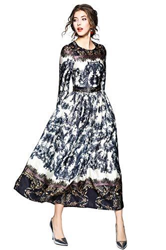omen's Elegant Paisley Print Long Sleeves Casual A-line Long Maxi Dress ()