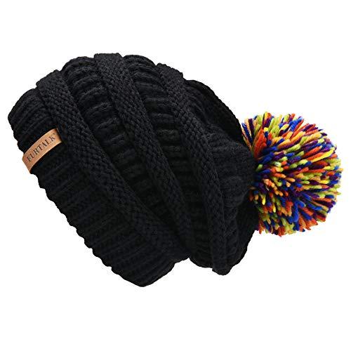 FURTALK Womens Slouchy Winter Knit Beanie Hats Chunky Hat Bobble Hat Ski Cap (One Size, Black with Mixed Knit Pom) by FURTALK