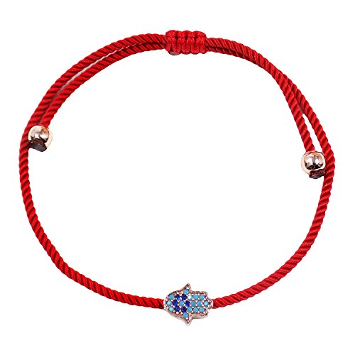 Martinuzzi Accessories Hamsa Hand Evil Eye String Bracelet, Fatima Hand Red String Kabbalah Bracelet (Red Cord) ()