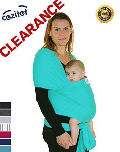 Clearance: Bright Blue-Green Baby Sling Carrier Wrap by Cozitot | Medium...