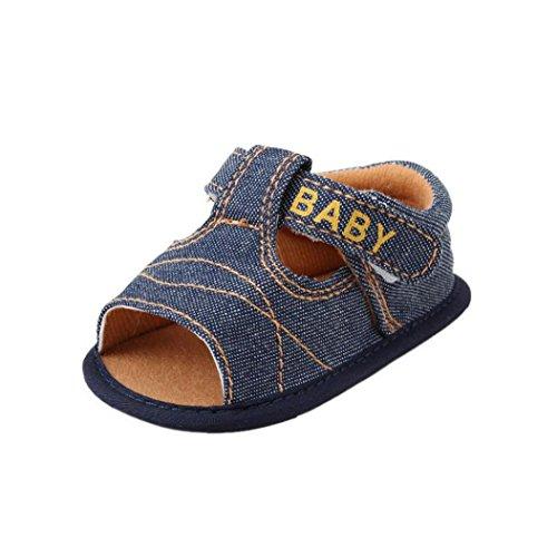 (0 ~ 18 Meses)Sandalias de la flor de las niñas de los bebés, zapatos de los primeros Walkers de la princesa del niño de Koly (13, Azul) Azul oscuro