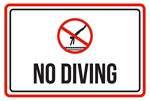 - iCandy Products Inc No Diving Swimming Pool Spa Warning Large Sign, Metal, 12x18