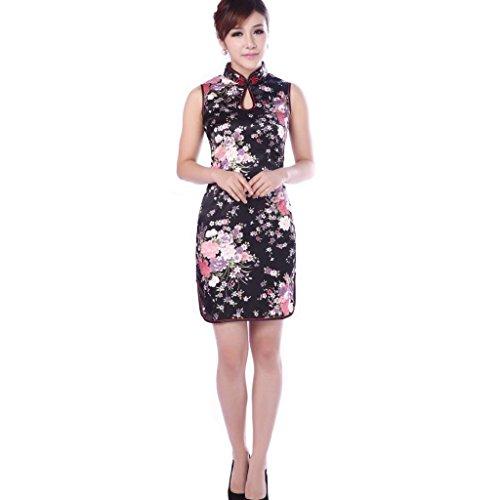 JTC Chinesisch Eutikleider Cheongsam Damen Qipao Schwarz Dinner Party Kleider