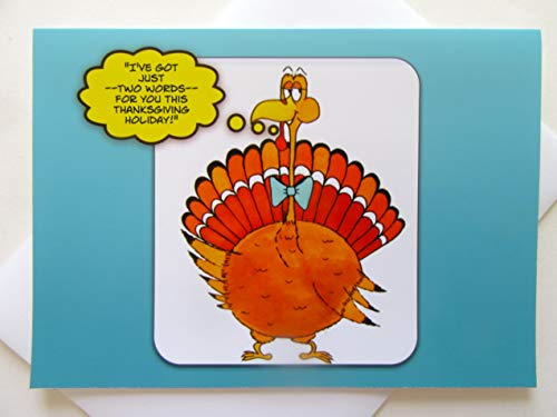 Thanksgiving Card - Turkey Greeting Card - Cartoon Thanksgiving Card - Funny Turkey Card - Thanksgiving Cartoon Turkey Card