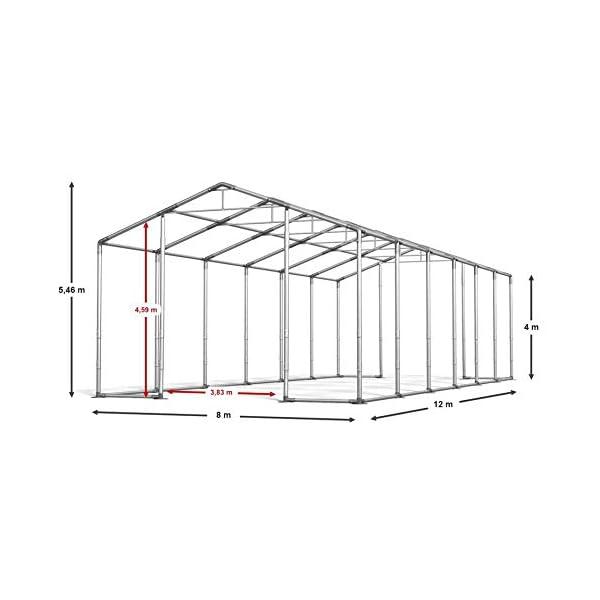 Das Company Tendone Deposito 8x12x4m Tendone Bianco Impermeabile 560g/m² Tenda da stoccaggio Rinforzo dell'Ingresso… 2 spesavip