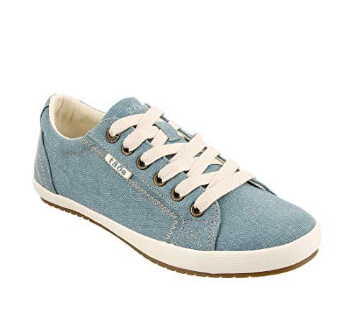 (Taos Footwear Women's Star Teal Wash Canvas Sneaker 8 M US)