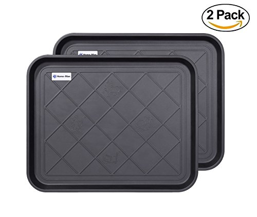 Home-Man Multi-Purpose Boot Tray Mat,Boot Tray For Entryway, Pet Bowl Tray,Dog Bowl Mat,Waterproof trays for Indoor and Outdoor Floor Protection,20x 15/2 Pack