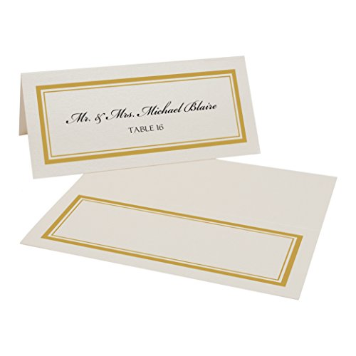 Double Line Border Place Cards, Champagne, Gold, Set of 25