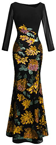 Angel-fashions Women's Long Sleeve Rose Pattern Sequin Black
