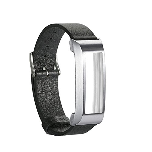 bayite Leather Bands for Fitbit Alta with Stainless Steel Frame