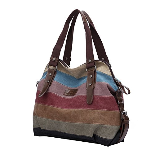 HT, Borsa a spalla donna Multi-Color Striped