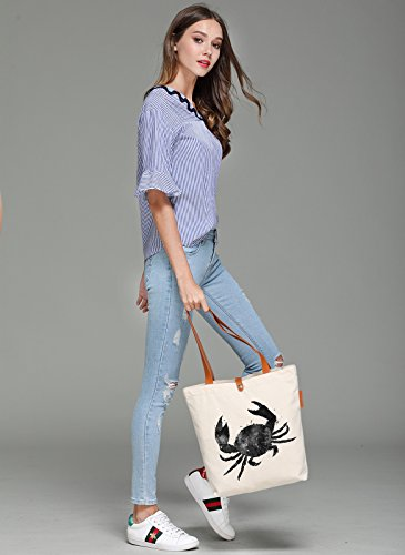 So'each Women's Ink Crab Printed Graphic Top Handle Canvas Tote Shoulder Bag