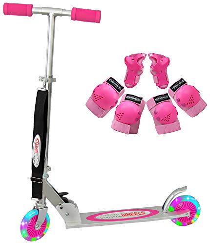 ChromeWheels Scooter for Kids, Deluxe Scooters 4 Adjustable Height with LED Light Up Wheels, for Age 5 up Girls Boys, 132lb Weight Limit, Protective Gear Set(Knee Pads+Elbow Pads+Wrist Guards), Pink