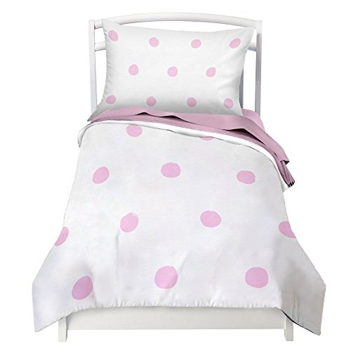 Toddler Bedding Set for Girls Pink Polka Dot - Double Brushed Ultra Microfiber Toddler Bedding Set