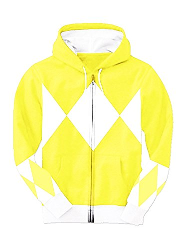 [Yellow Power Rangers Hooded Costume Sweatshirt (Adult Medium)] (Yellow Ranger Costumes)
