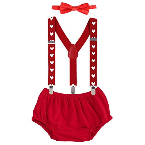 Baby Boys Adjustable Y Back Elastic Strong Clip Suspenders Outfit First Birthday Bloomers Bowtie set Red Heart ()