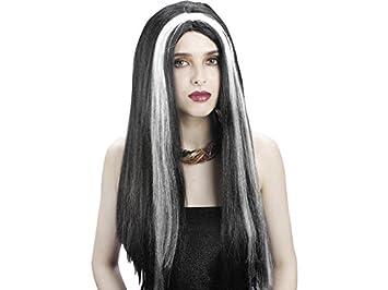 DISONIL Peluca Vampiresa Negra y Blanca