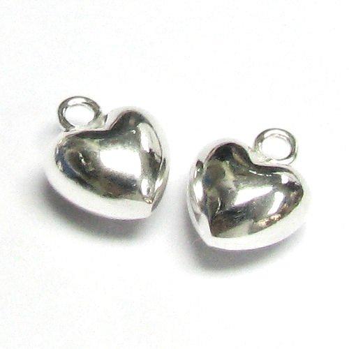 2 pcs .925 Sterling Silver Love Sweet Heart Pendant Dangle Charm / Findings / -