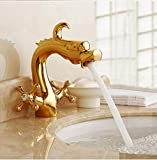 G FQXML 3 Colors Antique Dragon Bathroom Basin Faucet brass bathroom faucets Dual handle Hot and Cold Water Tap Deck Mounted Mixer Tap,6