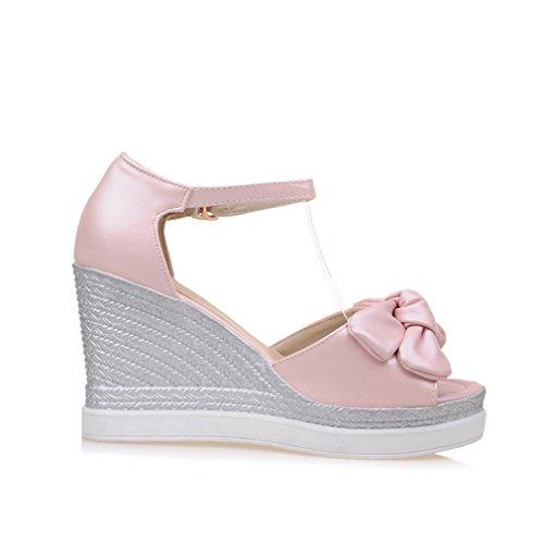 043f9e07c705de YE Wedges Sandaletten High Heels Plateau Sandalen mit Keilabsatz Peep Toe  Schleife Damen Sommer Schuhe Verkauf