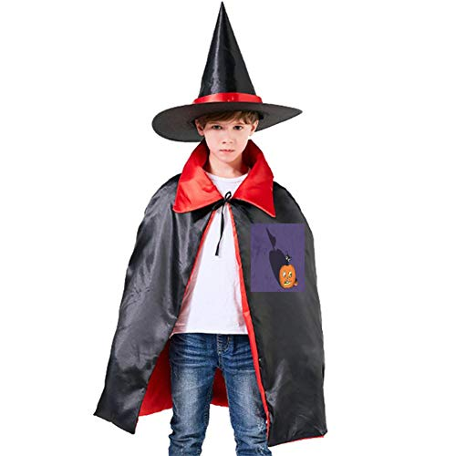 Cat in Pumpkin Halloween Shawl and Witch Hat for Children Kids Red]()