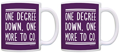 Graduate Gifts One Degree Down One More to Go Graduation 2 Pack Gift Coffee Mugs Tea Cups Purple