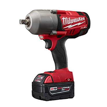 Milwaukee 2762-22 M18 FUEL 1/2 Inch High Torque Impact Wrench with Pin Detent Kit - Two M18 RedLithium XC 5.0 Batteries