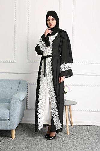 YI HENG MEI Women's Elegant Long Sleeve Muslim Maxi with White Lace Hem for Islamic Abaya,Black,L by YI HENG MEI (Image #3)