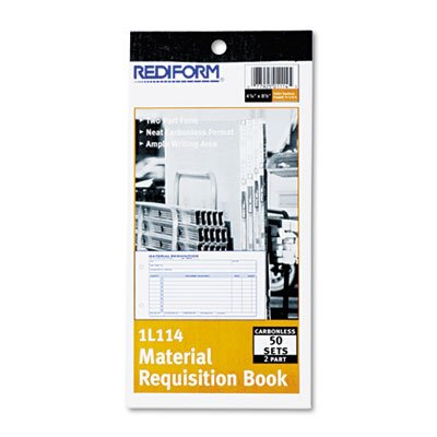 Material Requisition Book, 4 1/4 x 7 7/8, Two-Part Carbonless, 50-Set Book, Sold as 1 Each, 30PACK , Total 30 Each