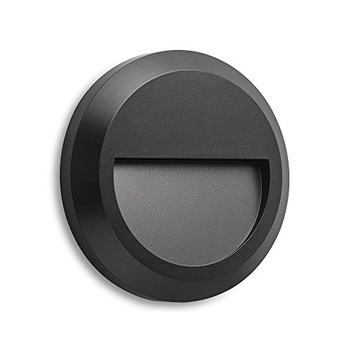 (Electric Stair Step and Wall Led Light - Outdoor and Indoor Decorative Lighting - Round, Down Light, Waterproof IP65, 1.5W 120V 4000K 60LM, Black)